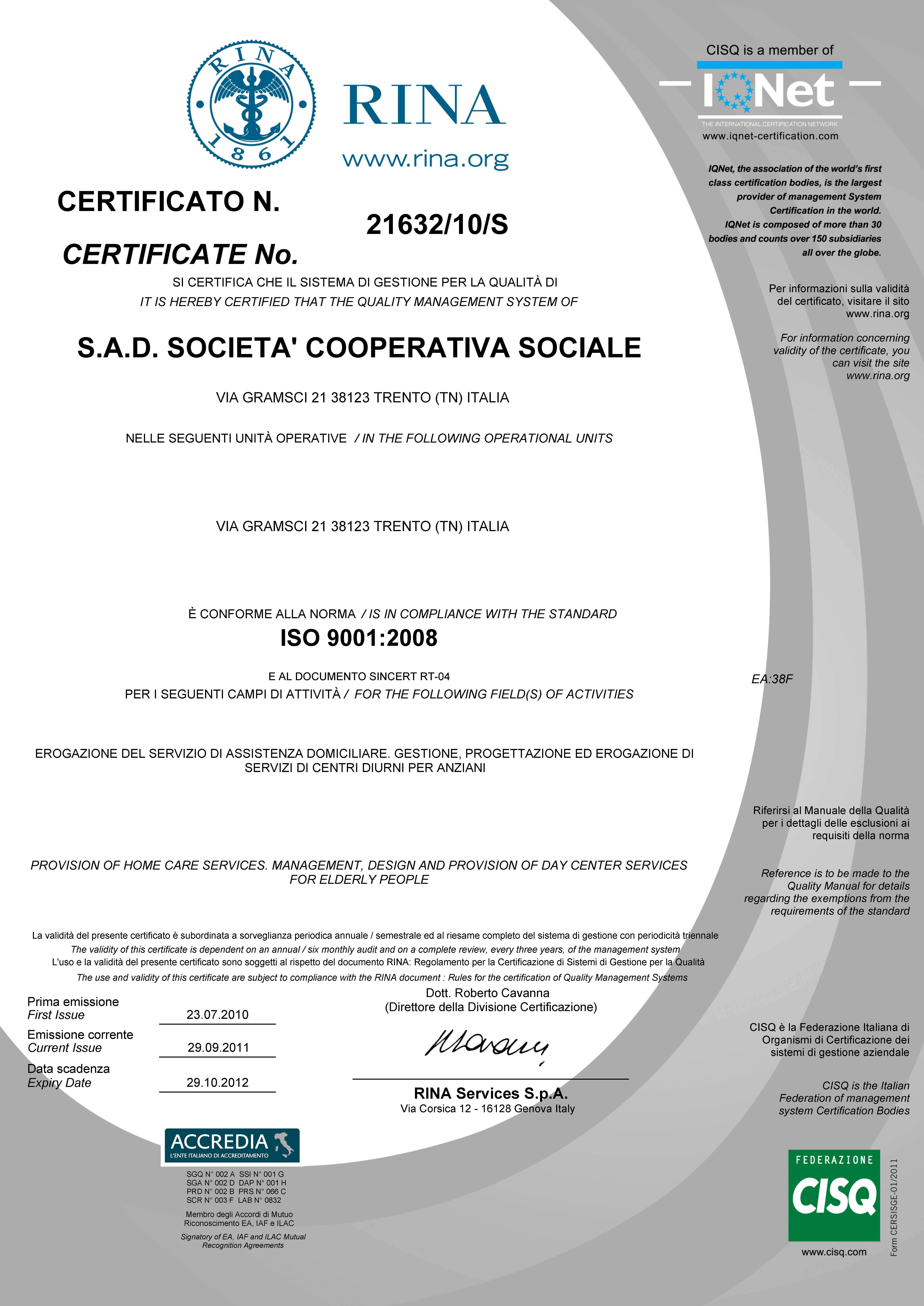 certificato RINA SAD